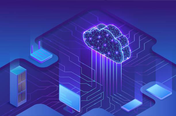Cloud computing concept, server, smartphone, modem, tablet connected in neural network, isometric vector technolodgy background, modern blue design vector art illustration