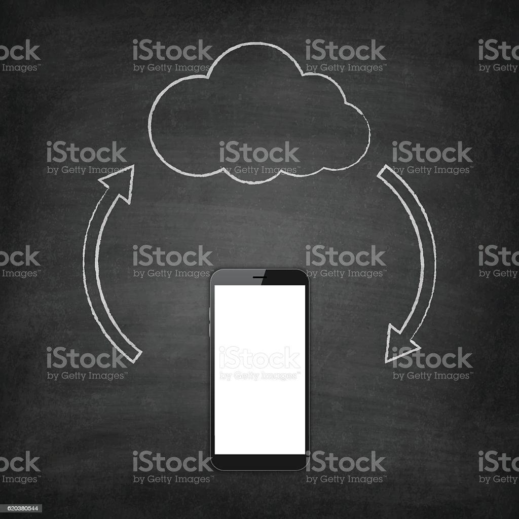 Cloud computing concept - Smartphone isolated on blackboard, Chalkboard cloud computing concept smartphone isolated on blackboard chalkboard - stockowe grafiki wektorowe i więcej obrazów bez ludzi royalty-free