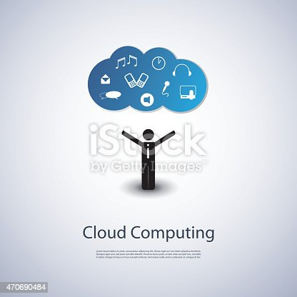The User is in the Center - Colorful Cloud Computing Concept Design with Black Businessman Figure and Icons of Various Type of Media, Communication and Mobile Computing Devices in the Cloud Above - Illustration in Editable Vector Format