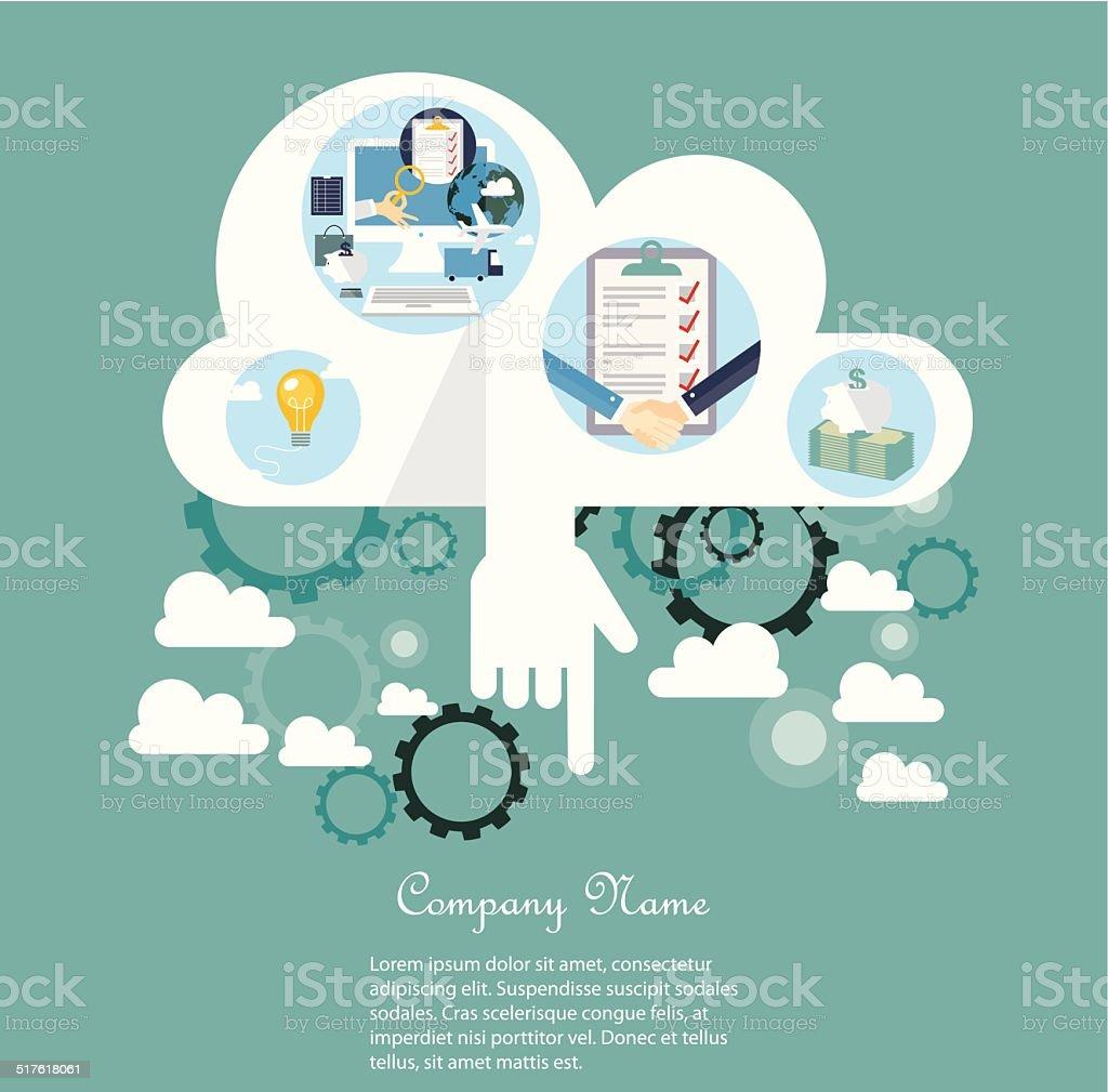 Cloud computing concept vector art illustration