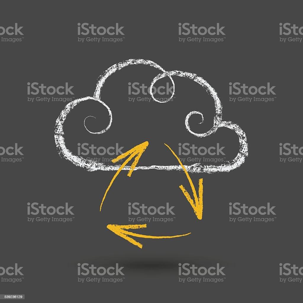 Concepto de computación en nube con tiza dibujo flechas ilustración de concepto de computación en nube con tiza dibujo flechas y más banco de imágenes de abstracto libre de derechos