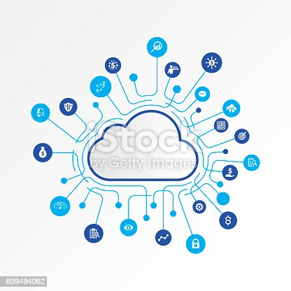 Cloud computing concept with finance and analysing icons