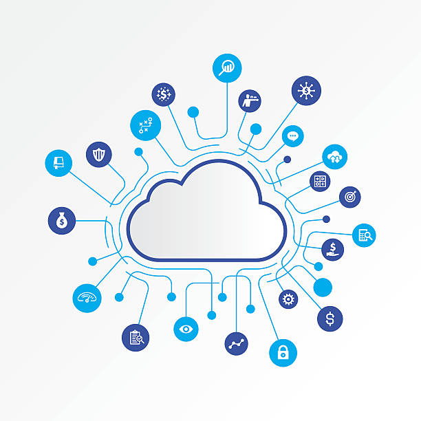 Cloud computing concept with finance and analysing icons vector art illustration