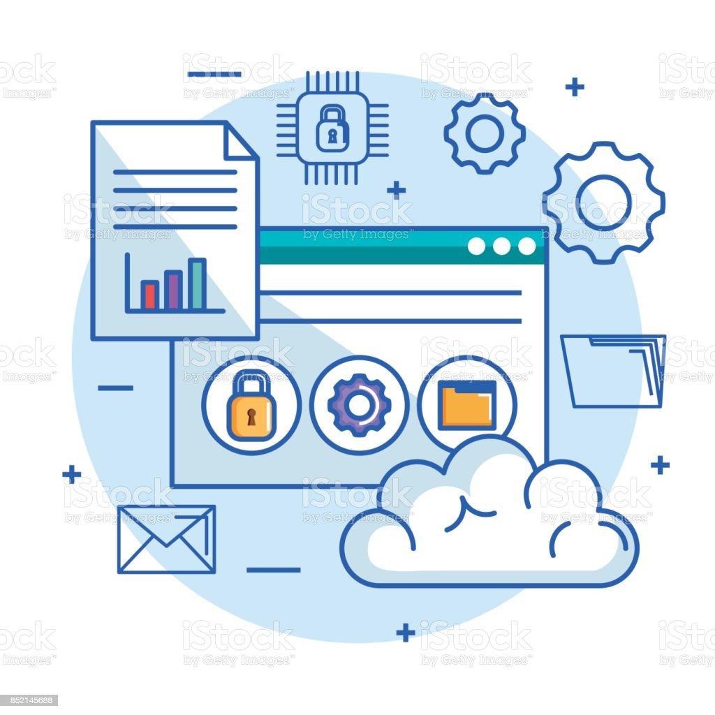 cloud computing data storage server web hosting and technology security vector art illustration