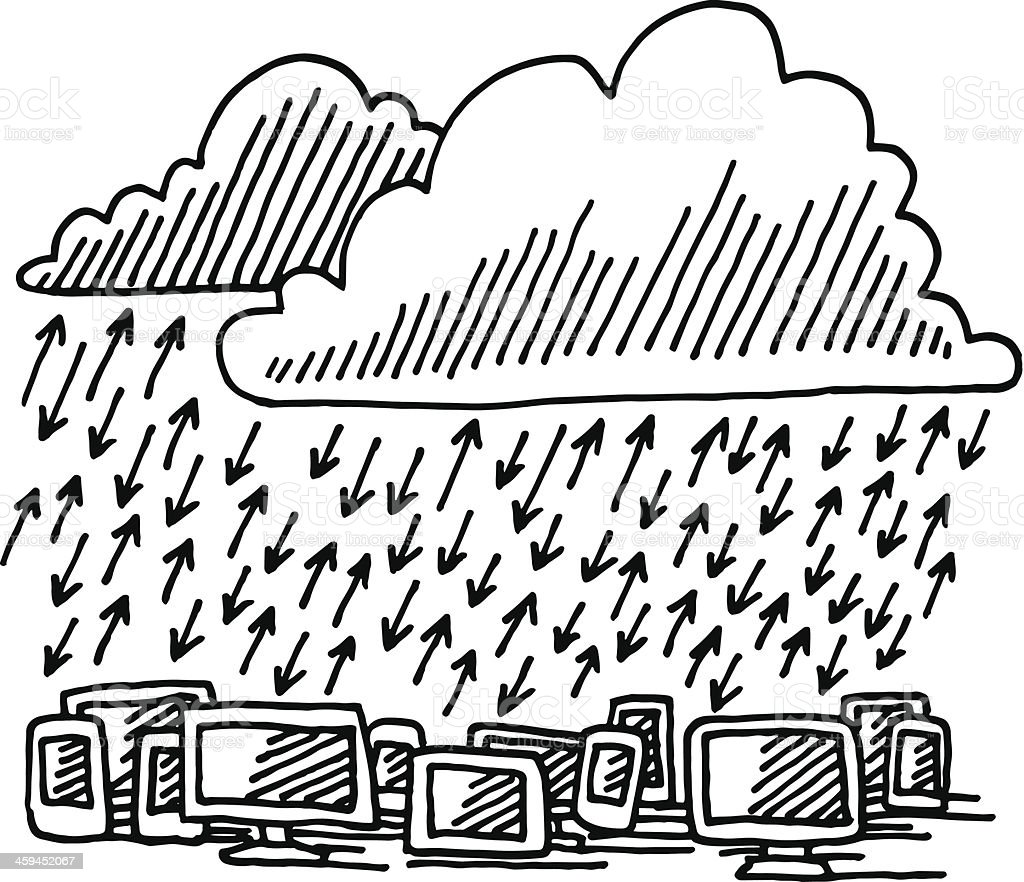 Cloud Computing Data Traffic Drawing Stock Vector Art & More Images ...