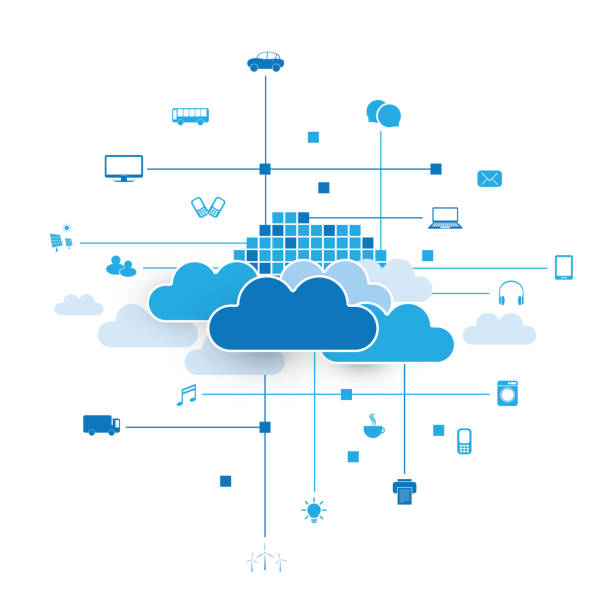 Cloud Computing Design Concept vector art illustration