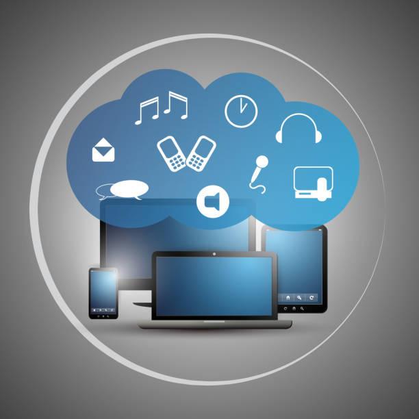 cloud-computing design-konzept mit symbolen - tablet mit displayinhalt stock-grafiken, -clipart, -cartoons und -symbole