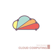 Cloud computing design,vector drawn cloud icon. Isolated on white background.