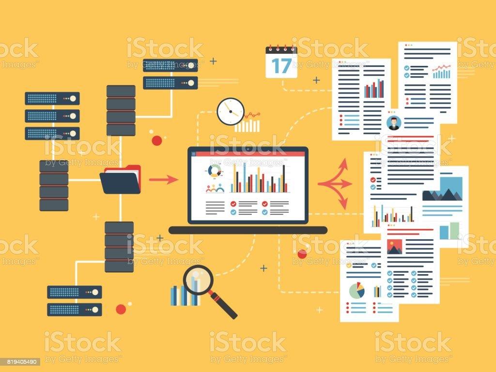 Cloud-computing-Geräten, Daten-Netzwerk und Business Intelligence. – Vektorgrafik