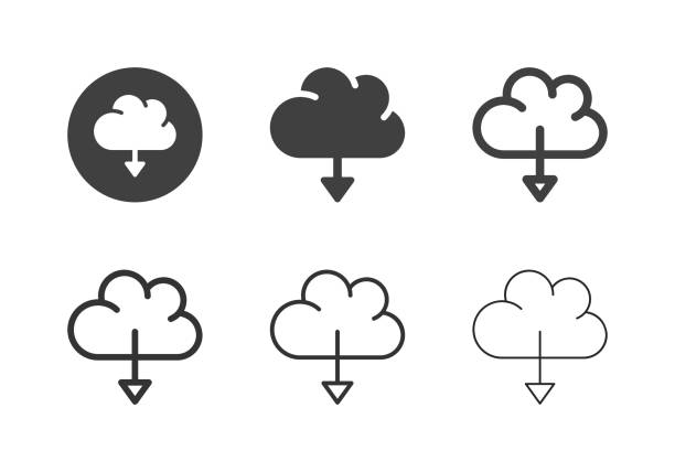 Cloud Computing Downloading Icons - Multi Series vector art illustration