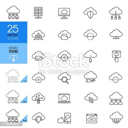 Cloud computing and storage of data icon set. Editable stroke.