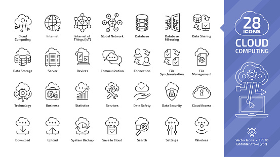 Cloud computing editable stroke outline icon set with global network data server and internet technology, database platform, computer digital system thin line sign. clipart