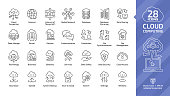 Cloud computing editable stroke outline icon set with global network data server and internet technology, database platform, computer digital system thin line sign.