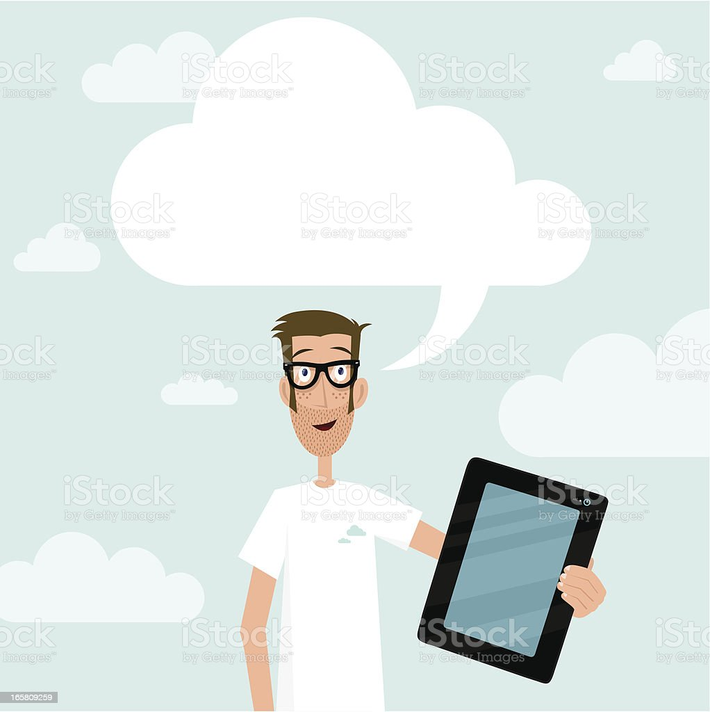 Cloud Computing geek guy showing tablet royalty-free cloud computing geek guy showing tablet stock vector art & more images of adult