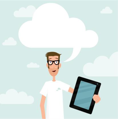 Cloud Computing geek guy showing tablet