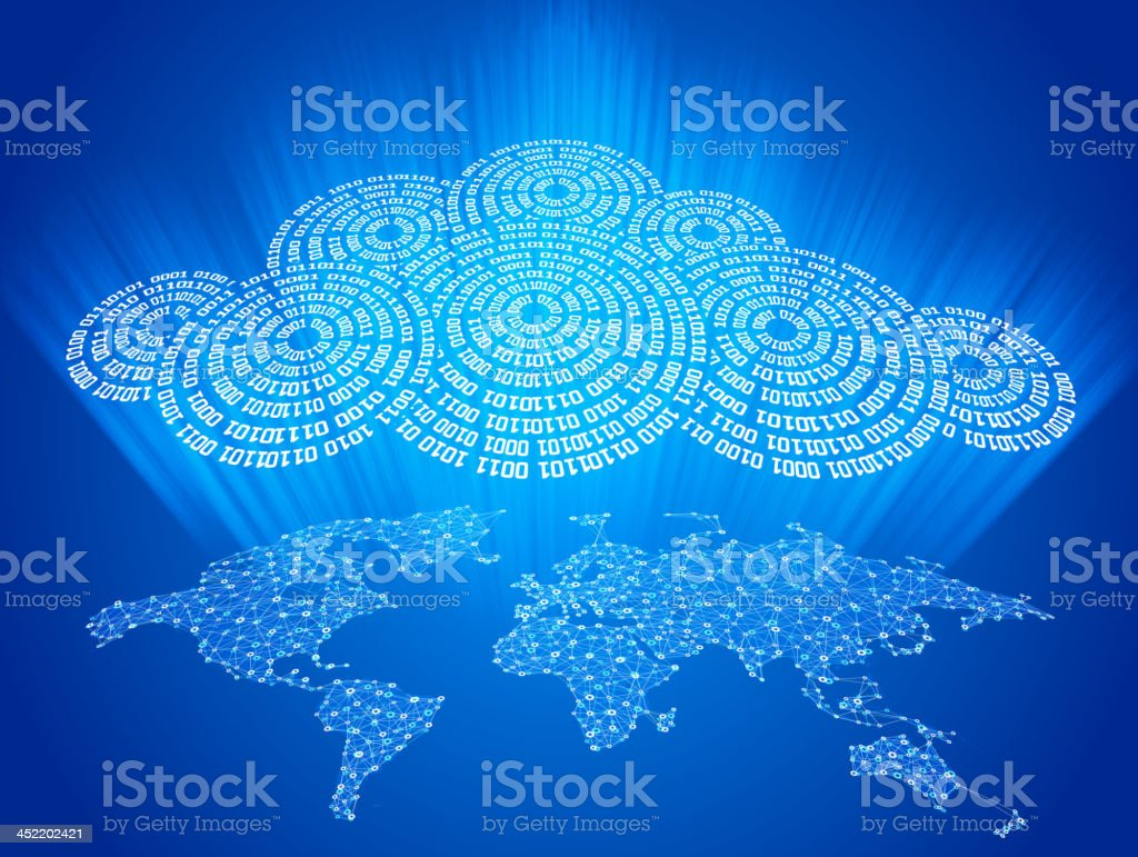Cloud Computing Global Communications vector art illustration