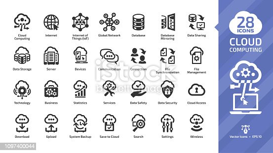 Cloud computing glyph icon set with network data server and internet technology, database platform digital system symbol.