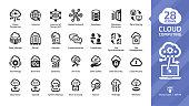 Cloud computing glyph icon set with network data server and internet technology, database platform digital system symbol.