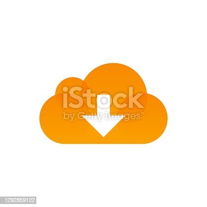 Vector illustration of a cloud computing icon. Cut out design element on white background and copy space.