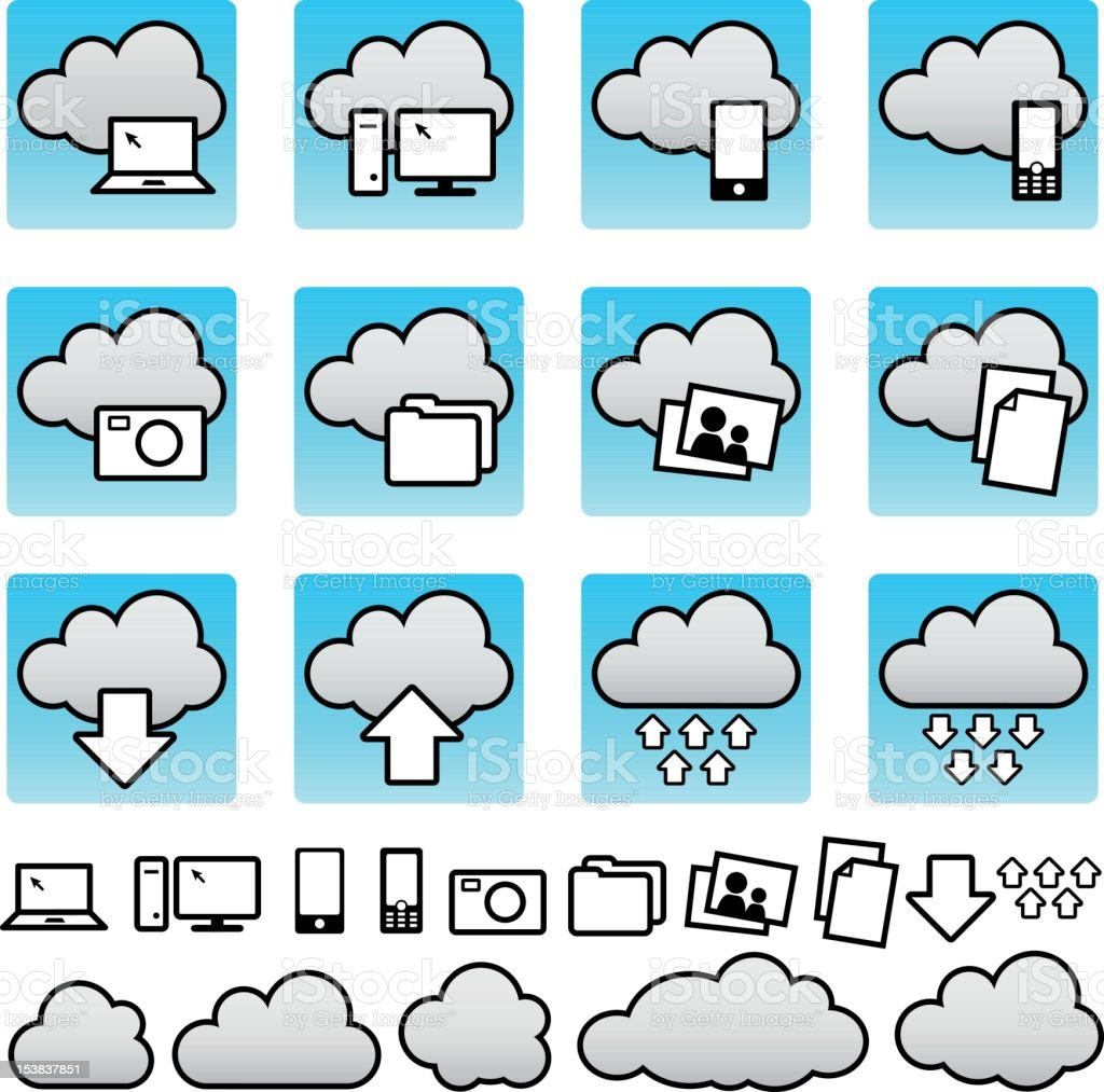 Cloud computing   icon set royalty-free cloud computing icon set stock vector art & more images of accessibility