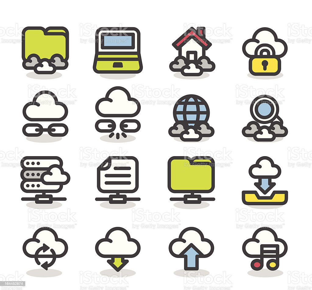 cloud computing icon set royalty-free cloud computing icon set stock vector art & more images of arrow symbol