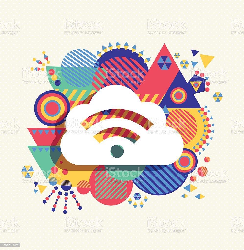 Cloud computing icon vibrant colors illustration vector art illustration