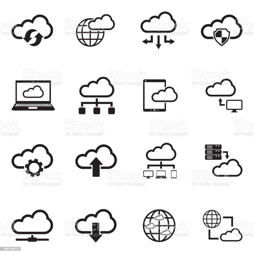 Cloud Computing ikoner. Svart platt Design. Vektorillustration. - Royaltyfri Använda en dator vektorgrafik