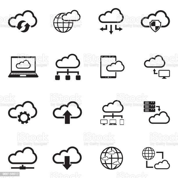 Cloud Computing Ikoner Svart Platt Design Vektorillustration-vektorgrafik och fler bilder på Använda en dator