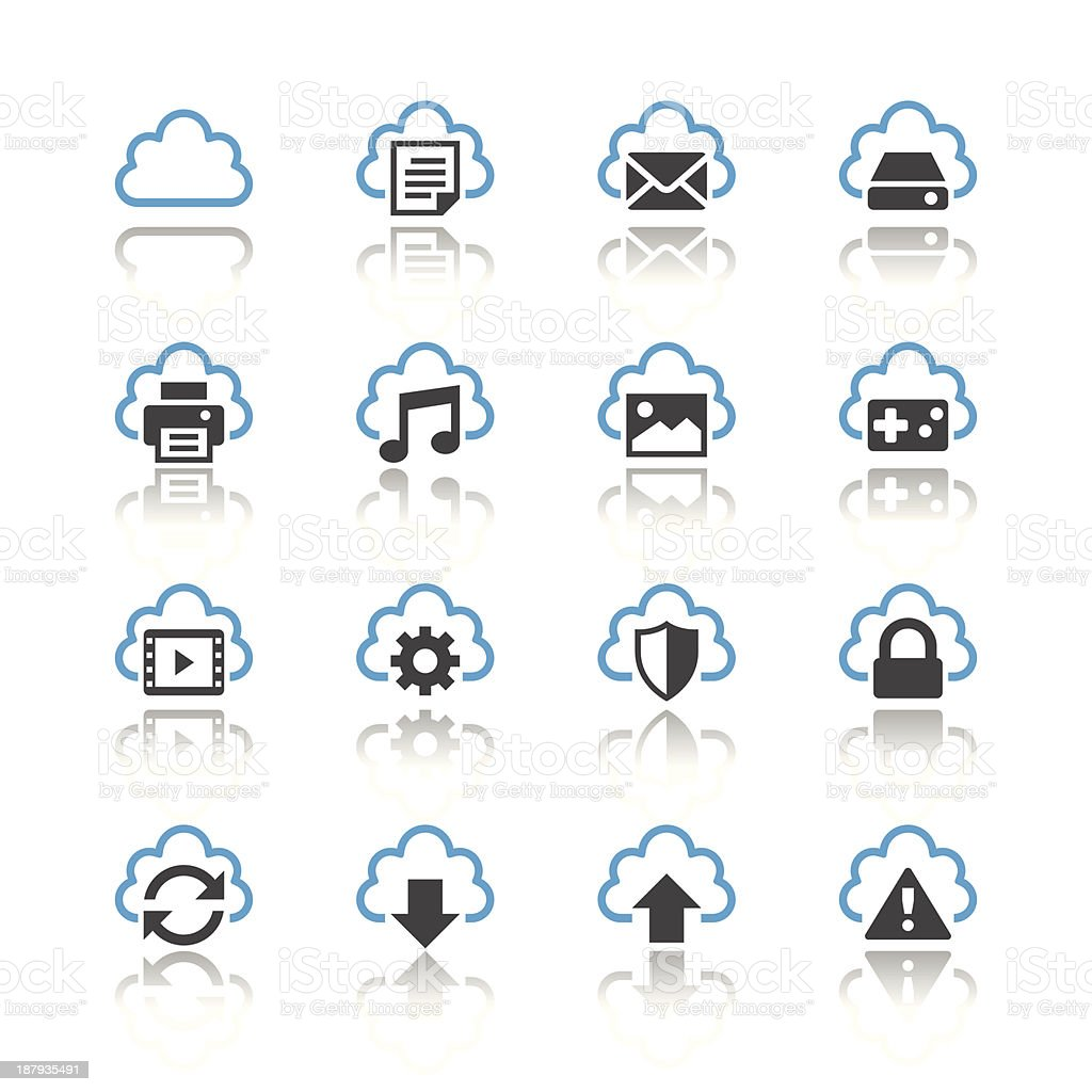 Cloud computing icons  - reflection theme royalty-free cloud computing icons reflection theme stock vector art & more images of advice