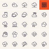 cloud computing icons isolated line vector set