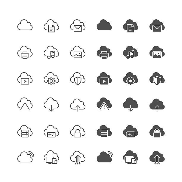 cloud computing-icons - filmfehler stock-grafiken, -clipart, -cartoons und -symbole