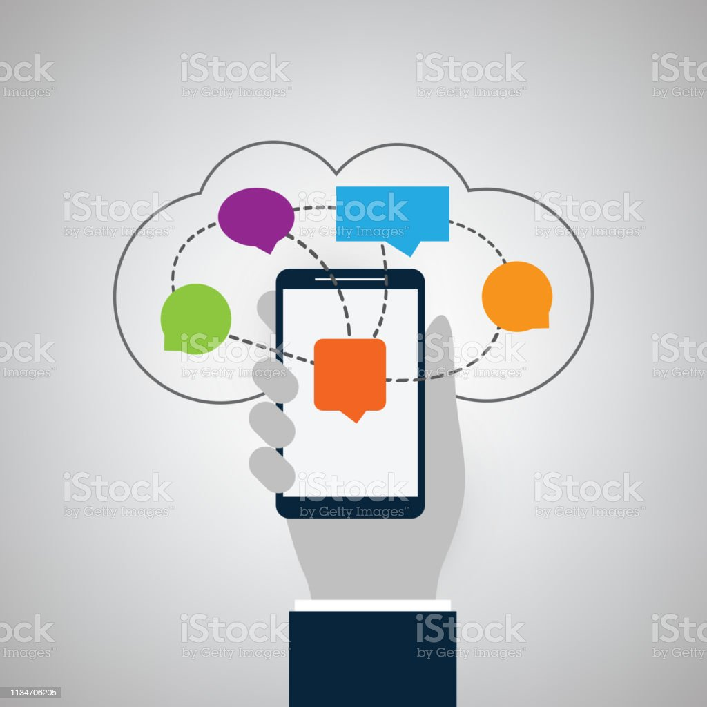 Cloud Computing Instant Messaging Services Concept Stock
