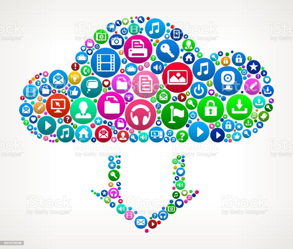 Cloud Computing Internet Communication Technology Icon Pattern vector art illustration