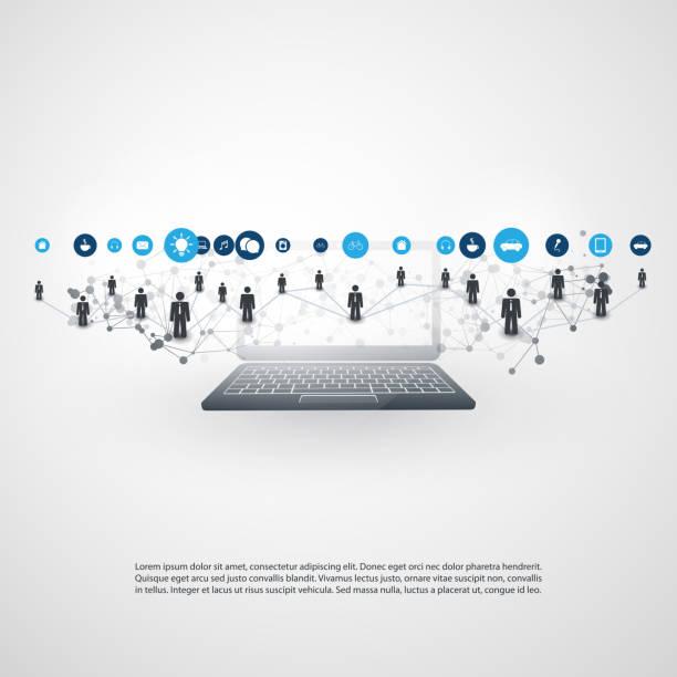 クラウドコンピューティングは、iot、it ビジネス、ネットワーク通信の概念 - オフィス外勤務点のイラスト素材/クリップアート素材/マンガ素材/アイコン素材