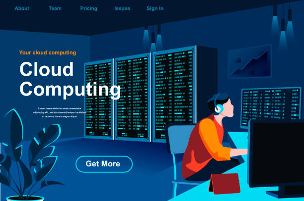 cloud computing isometric landing page. it specialist near server rack at data center situation. - computer server room stock illustrations