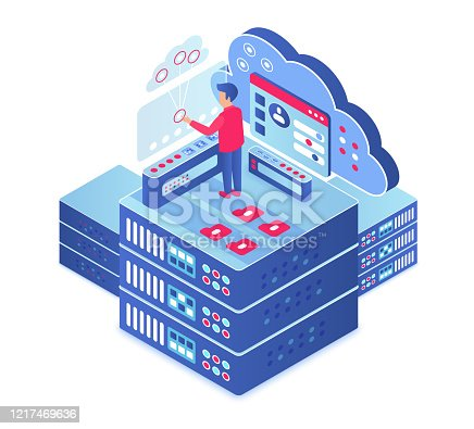 Cloud computing isometric vector illustration. Information storage technology. Server maintenance. Upload and share information service. Digital platform. Database cartoon conceptual design element