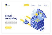 Cloud computing isometric vector landing page template. Computer hardware, Internet server, hosting website homepage 3d layout. Datacenter, synchronized information storage web banner design