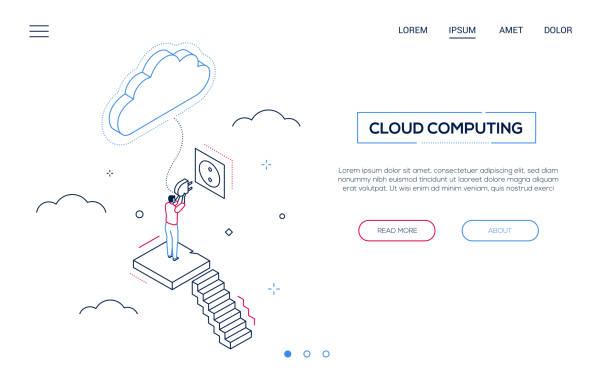Cloud Computing - Line Design Stil isometrischewebbanner – Vektorgrafik