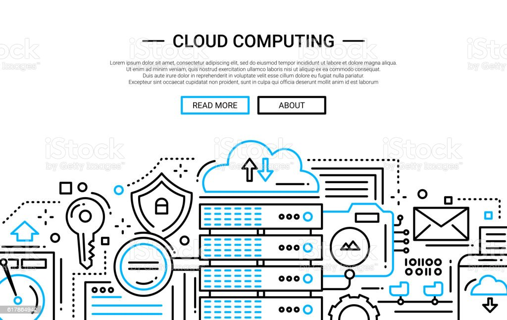 Cloud Computing - line design website banner vector art illustration