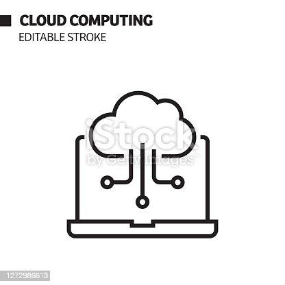istock Cloud Computing Line Icon, Outline Vector Symbol Illustration. 1272986613