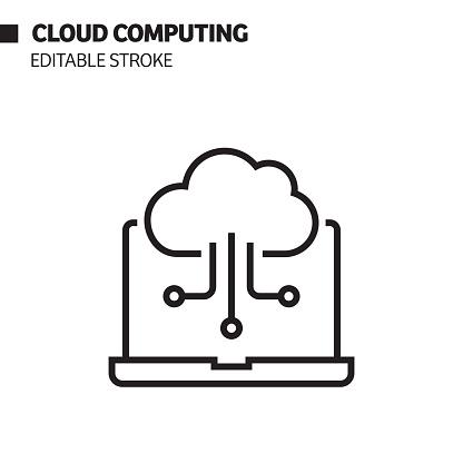 Cloud Computing Line Icon, Outline Vector Symbol Illustration.