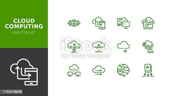 Cloud computing line icon set. Set of line icons on white background. Programming concept. System, service, device. Vector illustration can be used for topics like technology, internet, computer