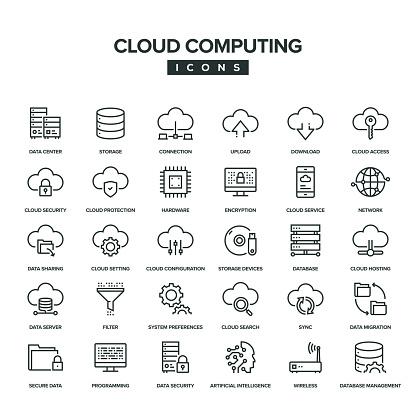 Cloud Computing Line Icon Set