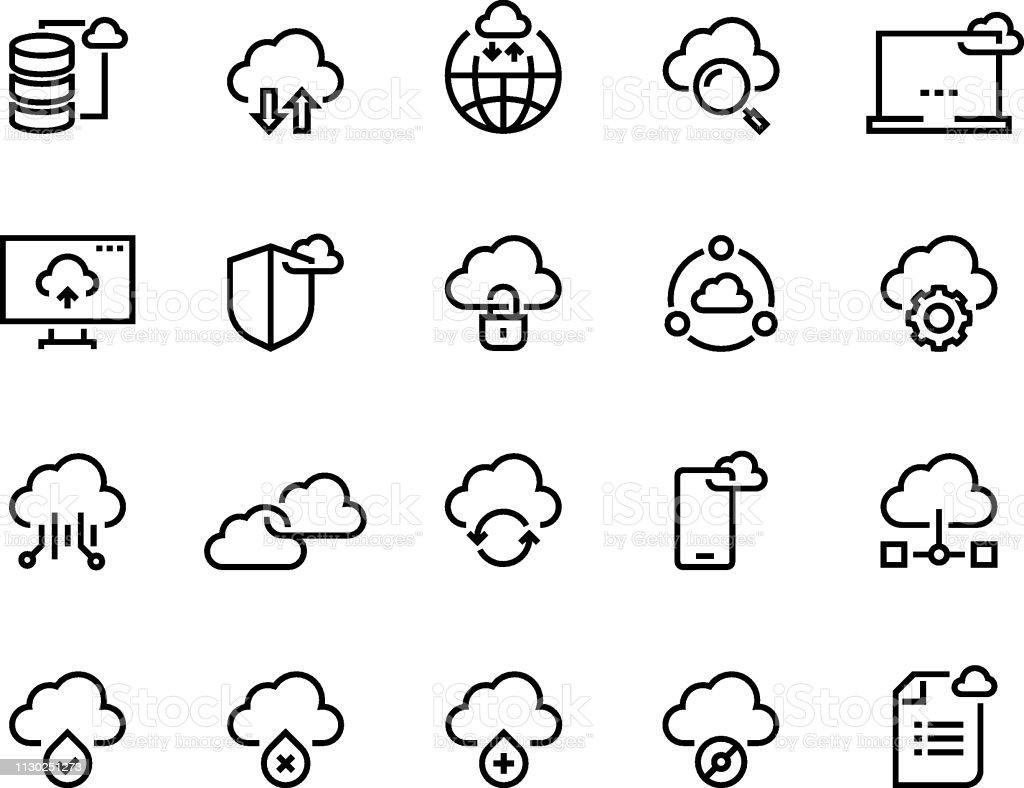 Cloud computing line icons. Data storage technology information...