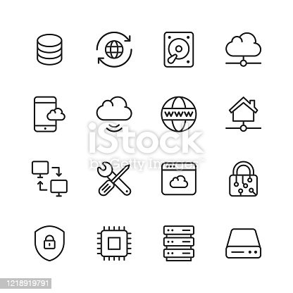 16 Cloud Computing Outline Icons.