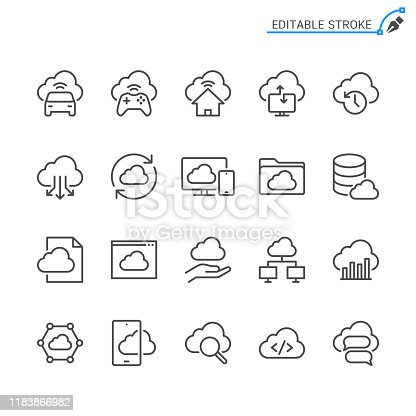 Cloud computing line icons. Editable stroke. Pixel perfect.