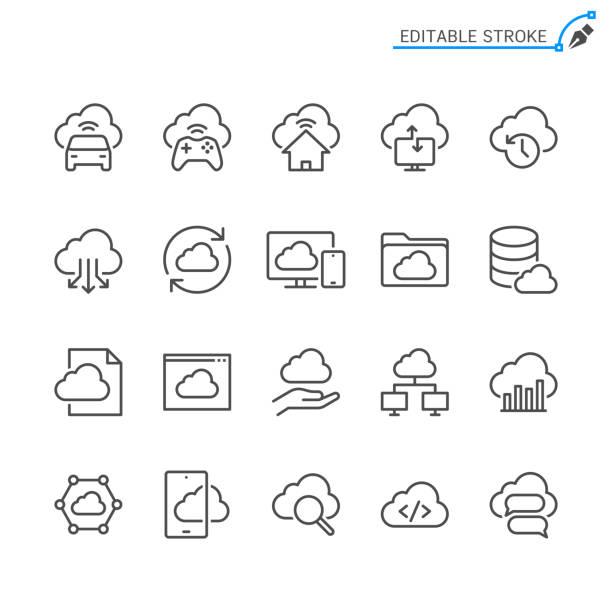 ikony linii przetwarzania w chmurze. edytowalne obrys. piksel idealny. - chmura stock illustrations