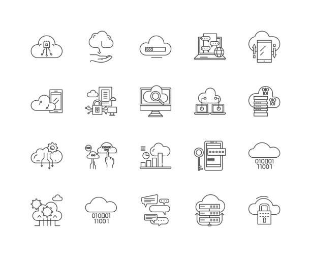 illustrazioni stock, clip art, cartoni animati e icone di tendenza di cloud computing line icons, signs, vector set, outline illustration concept - organizzatore della festa