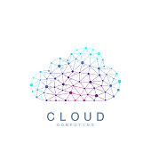Cloud computing logo concept. Database storage services web technology banner. Creative idea concept design Cloud computing vector icon