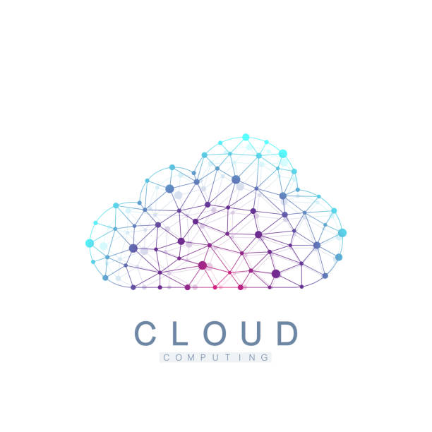 Cloud computing logo concept. Database storage services web technology banner. Creative idea concept design Cloud computing vector icon. vector art illustration